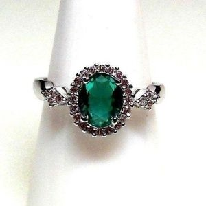 Ring Size 8 Simulated Diamond Emerald Oval 228